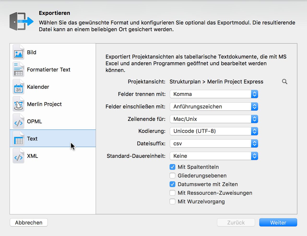 Handbuch: Hilfedokument für Merlin Project Express